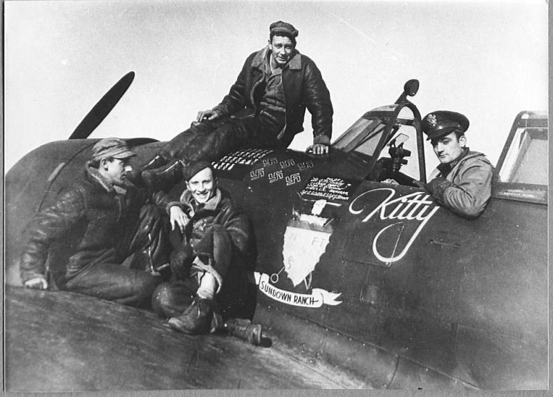 Grant Turley with his ground crew - Crew Chief Alfred J. Turrow of Logan, West Virginia; 1st Assistant Crew Chief Albert Costelnik of Homestead Pennsylvania; and Armourer James W Sterner of Seattle, Washington. Image courtesy of Grant Olsen.