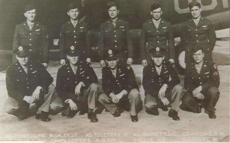 Paul D. Arnold Crew Crew 703 466th BG - 787th BS  Standing Left to Right:  Talmadge E. Tidwell (G), John F. Daley (R/O), Roland Teltzke (G), Lewis L. Barrett (G), Billie M. Higgins (G)  Kneeling Left to Right:  Paul D. Arnold (P), Frank Wolcott (CP), Leonard Bubri (N), Norman Ellis (B), William Savory (FE)  This crew was an original crew of the 466th BG.  They completed a 30 mission tour.  Frank Wolcott would later command his own crew and then move on to be Assistant Group Operations Officer for the 466th BG.