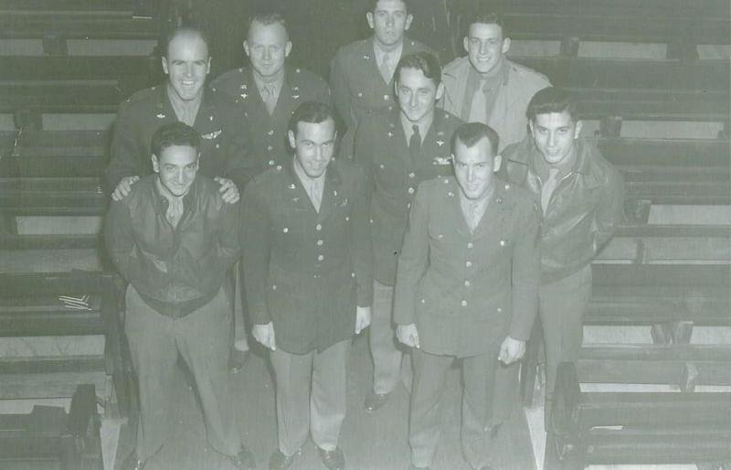 William J. Gallagher Crew Crew 713 466th BG - 787th BS  Back Row Left to Right:  Thomas B. Lynott (B), William J. Gallagher (P), Fleckenstein (G), Gus Kavalos (FE)  Front Row Left to Right:  Mike Dantuono (G), Raymond E. Hutchinson (N), Unknown, Joseph Letendre (WG), Roland Nelson (G)  This crew completed a 30 mission tour.  They were the first crew of the 787th BS to complete a full tour.