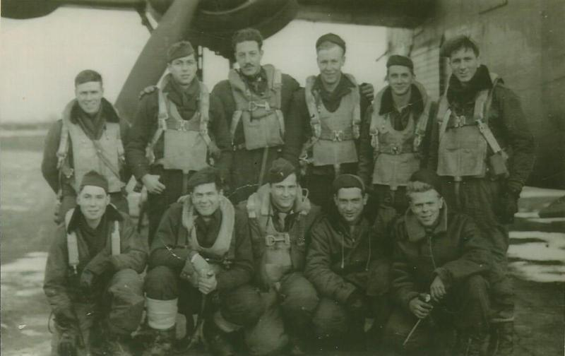 James Van Ginkle Crew Crew 752 466th BG - 787th BS  This crew completed a 35 mission tour.   5 September 1944 thru 22 March 1945  Standing Left to Right:  Richard G. Walters (N), Loren B. Whitehead (R/O), James Van Ginkle (P), Jay Kooiker (TT), Roland J. Stewart (RWG), William A. Schneider (NG).  Kneeling Left to Right:  Art Lindsey (LWG), T.O. Jordan (TG), Martin L. Coleman (CP), Ben Weiner (FE), Roger