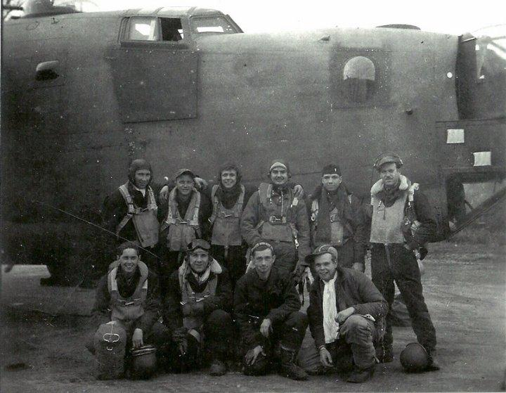 Harold F. Pierce Crew  Crew #456   Standing Left to Right:  Unknown  Richard Casey Owens (WG)  Raymond Juskiewicz (R/O)  Harold Pierce (P)  Jacob Mays (N)  Thomas McKiernan (CP)   Kneeling Left to Right:  Thomas Horn (WG)  Verdun Price (TG)  Rafael Anthony (NG)  Joseph Jewett (E)   This crew flew 8 missions with the 466th after previously flying with the 458th BG and the 93rd BG