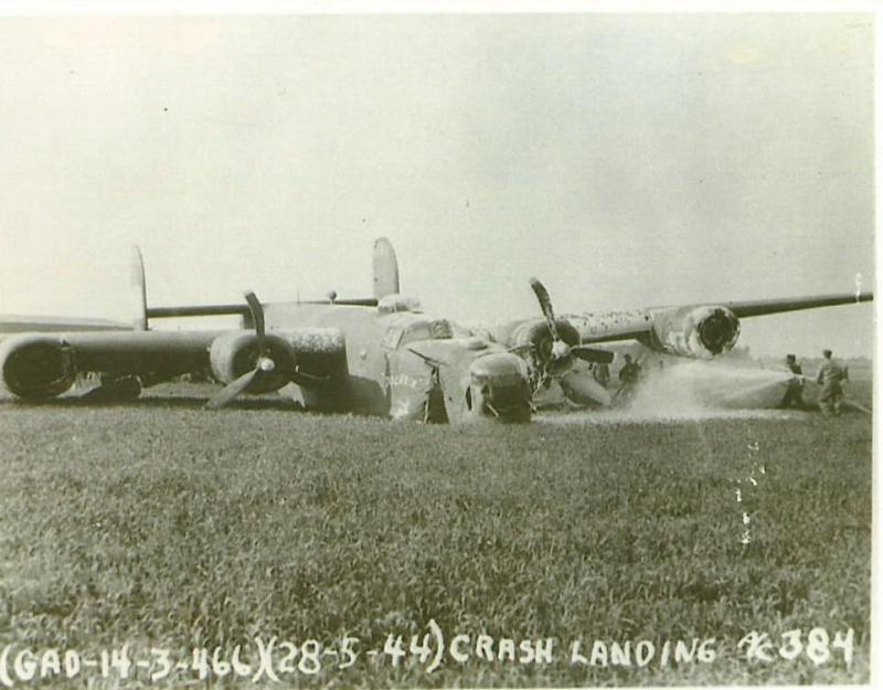 B-24H-15-CF #41-29384 Polaris 466th BG - 787th BS Code:  6L-R  Crash landed by the John W. Brown Crew on 27 May 1944.  All survived and they completed a 30 mission tour.