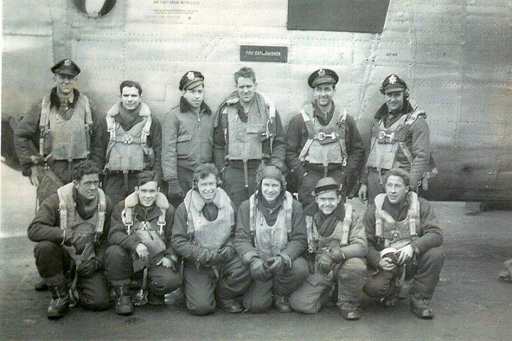John C. Garison Crew Crew # 543 & #467 466th BG - 785th BS & 784th BS  Standing Left to Right:  Unknown, Herbert Cheskin (N), W.R. Wagner (B), Unknown, Farris Groben (CP), John Garison (P)  Kneeling Left to Right:  Frank J. Messman (WG), Wayne E. Ahern (TG), William E. Hughes (R/O), Tom Kelly (WG), Jack Rawlerson (NG), Paul Kelch (FE)  This crew completed a 30 mission tour.