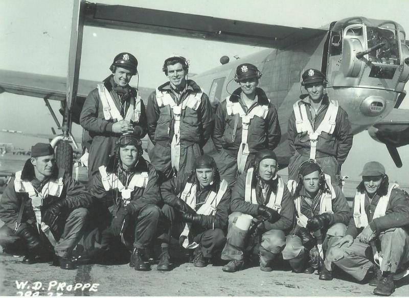 Crew #588 William D. Proppe Crew  Standing Left to Right:  Calvin E. Toof (B), William D. Proppe (P), Dovre Gottschalk (CP), Thomas O. Levens (N)  Kneeling Left to Right:  Charles E. McGinty (TG), Louis P. Ward (TT), James Charles Stacey (BTG), Ernest P. Keith (R/O), Milo I. Noble (NG), Gerald L. Weaver (FE)