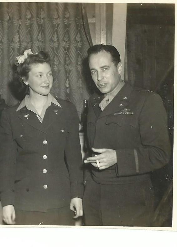 Colonel Arthur Pierce & unknown female at Attlebridge, 1944 Colonel Pierce served as Commander of the 466th BG December 1943 - July 1944