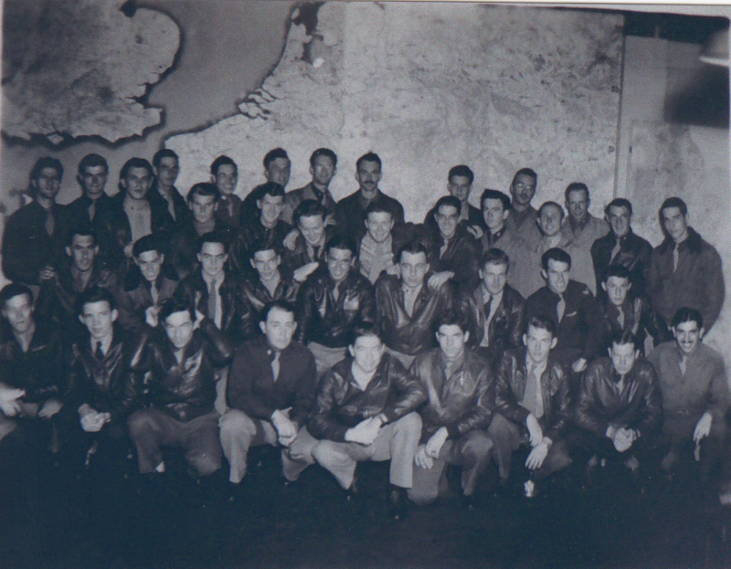Personnel of the 356th Fighter Group including Lieutenant Colonel Robert F Schlack