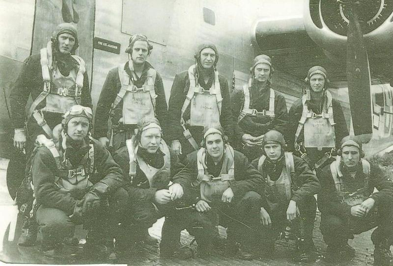 Warren K. Burt Crew Crew #704  Standing Left to Right:  George E. Kadlec (WG), DeWitt A. White (R/O), William M. Julian (WG), Donald J. Waddle (TG), James E. Pound (BTG)  Kneeling Left to Right:  Warren K. Burt (P), Earl B. Crites (CP), Robert H. Collins (N), Laurence R. Gulick (B), James S. Lawson (E)  This crew completed a 30 mission tour except for William Julian.  Julian having missed some early missions was flying as part of the composite Harrington Crew (Crew #747) when they were shot down on 15 August 1944.  Julian was KIA.