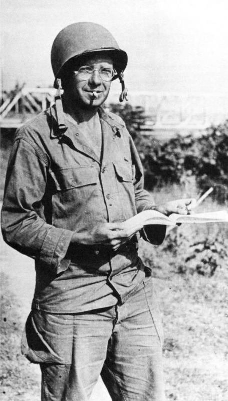 War Correspondent Homer Bigart of the New York Herald Tribune in the Pacific Theatre of Operations in 1945. Bigart was part of the Writing 69th and had flown missions with the 303rd Bomb Group in 1943.