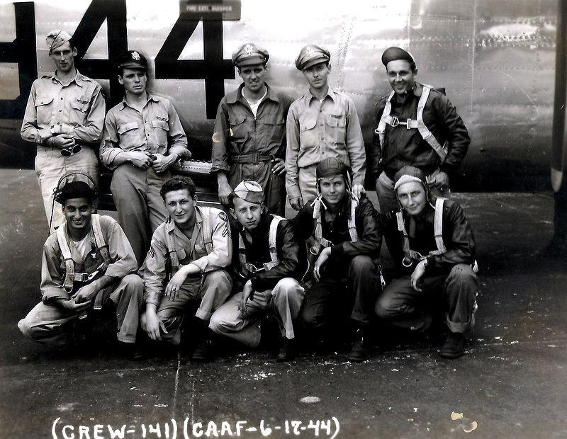 Crew #758 Robert F. Applin Crew 466th BG - 787th BS  Standing Left to Right:  Robert F. Applin (P), Richard Joyce (CP), Carl Herbst (B), Leon Appel (N), Earl Rau (FE)  Kneeling Left to Right:  Barkev Hovesepian (R/O), Henry Ciocci (G), Donald Brooks (G), Arthur Huggins (TG), LaVern Young (G)  This crew completed a 33 combat mission tour 5 October 1944 - 24 March 1945