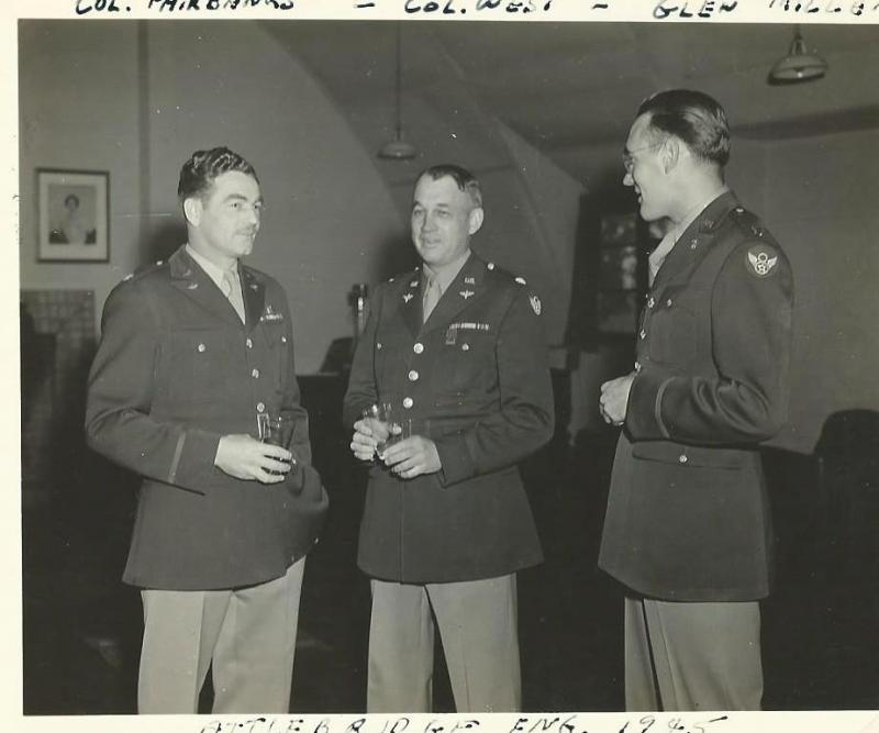 Colonel Luther Fairbanks (Commander Officer 466th BG), Lt. Colonel Joseph West (466th BG Exec. Officer), Captain Glenn Miller (Army Air Force Band) on the occasion of the 466th BG's 100th Mission Party