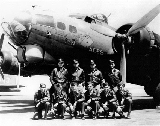 Replacement 95th Bomb Group crew poses with a Vega-built training Flying Fortress with 'Ten Aces' artwork. This crew is Tony Hamlik, Co-pilot: George Rudloff, Navigator: Hal Smith, Bombardier: Bob Diles, Flight engineer/top turret gunner: Roy Brosi, Radio Operator: Wendall Theiman, Ball turret gunner: Earl Joswick, Waist gunner: John Pluenik, Waist gunner: Chas Dager and Tail gunner: Ray Revels. The ten became Prisoners of War after a mission to Germany (Missing Air Crew Report 7409).   Earl B. Joswick is in the front row,  third from the right.   B-17 Flying Fortress, production block no. TB-17F-VE/TB-40. AAF serial number is unknown, however it is in the 42-5700 to 42-6100 range. This aircraft is most assuredly not the Douglas B-17G-30-DL 42-38178. It is a Stateside training Fortress (TB) built by Lockheed Vega. The features of the plane are unmistakable. Compare to 42-5964 in Bowers, Fortress in the Sky, (published by Sentry). The tail markings of the background plane compare favorably to Vega 42-6001 on the MacDill website which hosted the 488BG RTU, later 326 Base Unit.   The combat aircraft from the 95BG associated with the crew Missing Aircrew Report (MACR 7409) is the Douglas B-17G-30-DL, 42-38178, however it is not pictured here and confirmation that 178 carried the nose art of TEN ACES or EASY ACES is not positively documented.