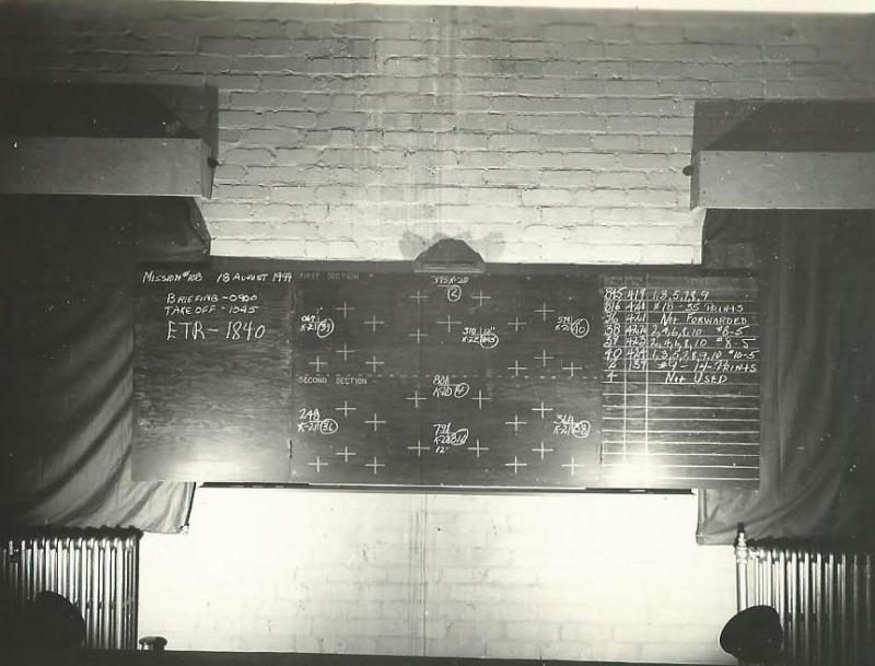 466th BG Photo Section Mission Briefing Board 18 August 1944 Target - Woippy, France