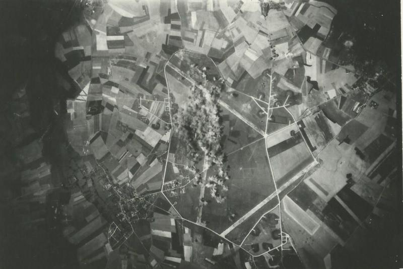 Strike Photo - Clastres Airfield, France 8 August 1944 466th BG  The 466th BG hauled gas to this airfield on a