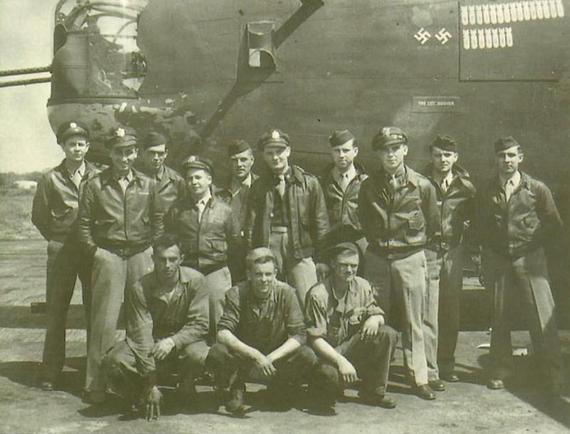 Crew #407 Arthur A. Kraft Crew  Standing Left to Right:  Robert Carr (WG), Jose V. Monfort (N), Charles Hughes (FE), Norman Siegel (B), Clarence Cless (G), Joseph O'Flaherty (CP), James Bates (WG) Arthur A. Kraft (P), Peter Danylo (TG), Charles Greene (R/O)  Kneeling Left to Right:  Sgt. Tobin (GC), Sgt. Pajack (GC), MSgt William W. Wallace (GCC)