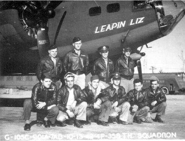 A bomber crew of the 303rd Bomb Group, including Second Lieutenant Don Winston Lusk Jr and their B-17 Flying Fortress (serial number 41-24526) nickanmed
