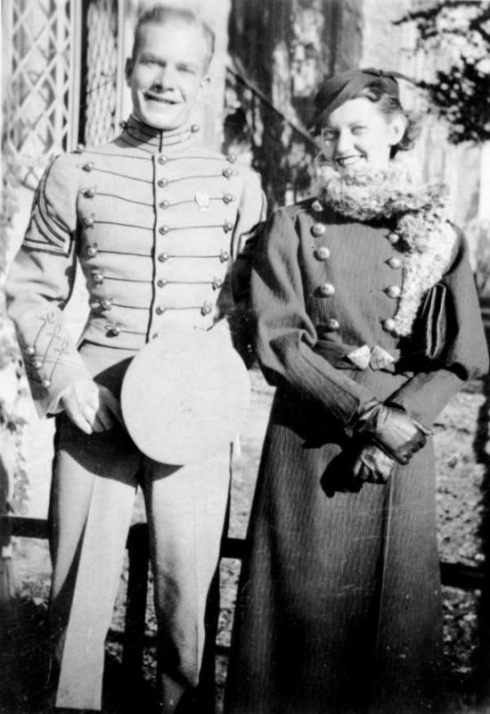 Pat Little and his future bride, Martha Fielis, at West Point
