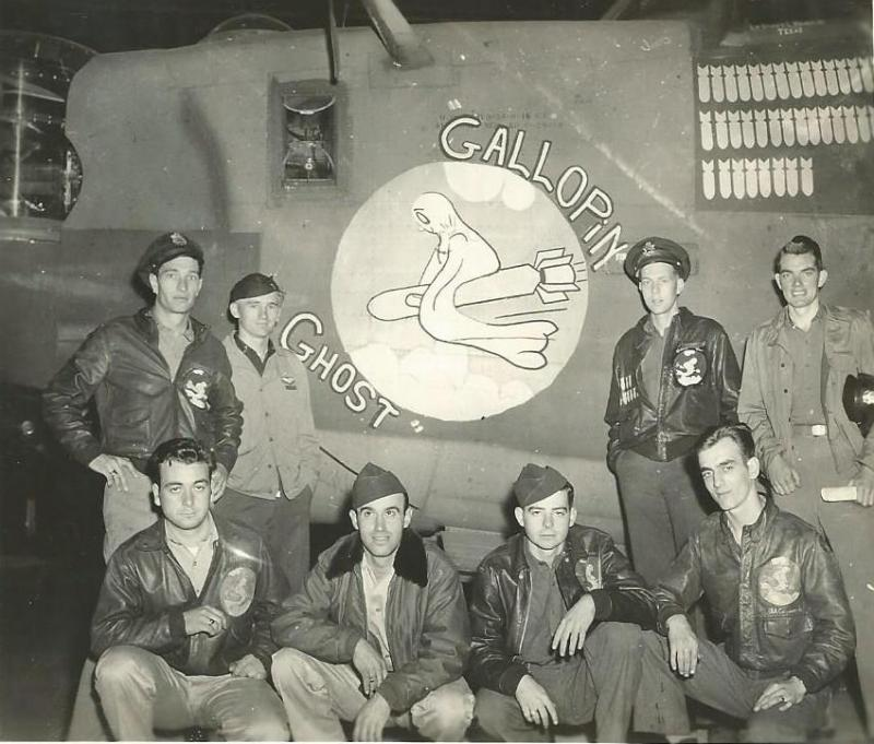 Crew #404/733 Dorsey L. Baker Crew  Standing Left to Right:  Dorsey L. Baker (P), William G. Lenco (CP), William T. Brenner (N), Warren B. Hermes (B)  Kneeling far right:  John A. Chismar (R/O).  The three remaining men are unidentified in the photo  Rest of Crew:  Lewis C. Scalzo (FE), Conrad Boudet (G), Gale Thompson (G), William Anderson (G), Matthew Ferrera (G)  The a/c is B-24H-15-CF #41-29439