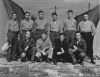 Photo taken 31 July 1943. Back, left to right : Rudolph A. Thigpen, Victor Ciganek, Gerald H. Tucker,  James A. Bowcock,  Jarvis Allen,  Albert T. Diminno Front Left to right :  Carl N. Smith,  Jack A. Hargis, Capen R. Simons, William H. Turcotte. Some men are still wearing the dry clothing supplied to them by the British Air Sea Rescue.