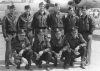 The Henry H. Northrop crew in Topeka, Kansas, just before leaving for England. They left Topeka on the morning of 27 April 1944 and, vie Goose Bay, Labrador, Iceland and Ireland, they arrived in England on 3 May,  Back row, from left to right :  Charles D. Clifford, Tail Gunner;  Joseph Risko, Waist Gunner;  Alexander Cardenas, Nose Turret Gunner;  Harold J. Flaugher, Engineer/Top Turret Gunner; Lawrence E. Dean, Radio Operator;  Jack J. Gonzales, Ball Turret Gunner.  Front row, from left to right :  Frank C. Deimel, Navigator;  Henry H. Northrop, Pilot;  Dee Jack Butler, Co-Pilot;  Thomas F. Jeffers, Bombardier.   [ Photo : via Marilyn Jeffers Walton ] [ Note : Waist Gunner Sgt Joseph Risko was suffering  from frostbite endured during the 14 June mission, and was replaced on 18 June by 1st Lt William J. Brodek who assigned himself as a Waist Gunner that day. ]