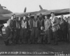 The crew of 41-24635 on return from the 4 May 1943 mission to the Ford and General Motors plants at Antwerp, Belgium.  Left to Right:  S/Sgt Willam C. Mulgrew, Ball Turret Gunner;  S/Sgt Richard C. Fortunak, Left Waist Gunner;  T/Sgt Roman R. Zaorski, Flight Engineer/Top Turret Gunner;  S/Sgt Murel A. Murphy, Right Waist Gunner;  Captain Robert J. Yonkman, Bombardier;  Lt. Colonel William A. Hatcher, Co-Pilot (CO of the 351st Bomb Group);  Captain William R. Calhoun, Pilot;  1st Lt Joseph M. Strickland, Navigator;  T/Sgt Charles R. Terry, Radio Operator;  S/Sg Willard W. Stephen, Tail Gunner;  Captain Clark Gable, Top Gunner.  (Official USAAF photo)
