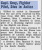 """Article in the """"West Seattle Herald"""", 10 May 1945, relating the announcement of Manford Croy's death. His widow Joan, born in 1924, re-married and died in 2013."""