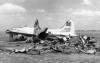 B-17 # 44-6160 in the background. Slightly damaged during the German raid on Poltava airfield, Soviet Union, 21 June 1944.  [ Débris of another B-17 of the 96th BG - # 42-102686 in the foreground. ]  (Official USAAF photo)