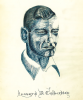 Ink drawing of Leonard D. Culbertson by William P. Nicholson while POWs at Stalag Luft III. This was one of many drawings found in Bill's Wartime Journal.