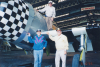 Major Jack C Price, Captain James E Stokes and Captain Robert F Rohm veterans of the 78th Fighter Group with the Fighter Collection's P-47 Thunderbolt representing